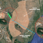 Map showing Chyulu in relation to Amboseli and Tsavo and water pipeline